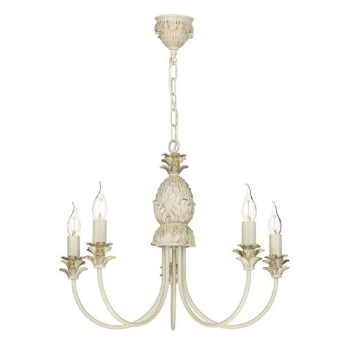 Cabana 5 Light Pendant Cream/Gold Fitting only (Hand made, 7-10 day Delivery)